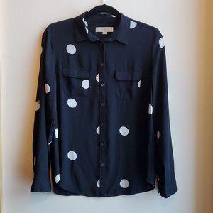 LOFT Black & White Polka Dot Blouse Size Small